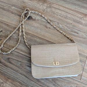 Beige crossbody purse